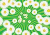 Grüner Hintergrund mit Strahlen und weißen Kamille