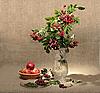ID 3032756 | Bukiet Ashberry w wazonie i jabłka czerwone | Foto stockowe wysokiej rozdzielczości | KLIPARTO