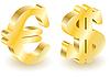 3D-Symbolen Dollar und Euro