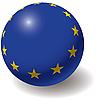 Flagge der Europäischen Union auf der Kugel