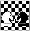 Schachbrett und zwei Pferde