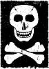 Schädel und gekreuzten Knochen auf Grunge Hintergrund