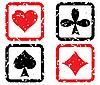 Satz Spielkarten. Grunge Stempel