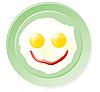 Spiegeleier und Ketchup in Form Lächeln
