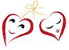 Vektor Cliparts: Zwei lächelnde Herzen