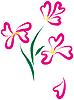 Vektor Cliparts: Stilleben mit rosa Blüten, wie Herz-Form