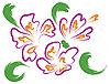 Vektor Cliparts: Stilleben mit lila Blüten