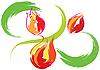 Vektor Cliparts: Stilleben mit roten Tulpen