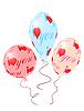 Vektor Cliparts: Ballons mit roter Verzierung von Herzen Symbole