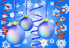 Vektor Cliparts: Drei Blue Christmas-Kugeln auf Schnee Hintergrund