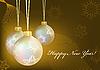 Vektor Cliparts: Goldene Weihnachten-Kugeln mit Schneeflocken