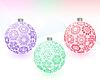 Vektor Cliparts: Weihnachts-Kugeln mit Schneeflocken Textur