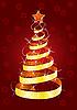 Vektor Cliparts: Weihnachten Pelz-Baum auf rotem Hintergrund