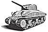 Amerikanischer Panzer Gravüre