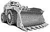Бульдозер-загрузчик гравюра | Векторный клипарт