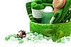 ID 3013821 | Зеленое полотенце и соль для ванн. | Фото большого размера | CLIPARTO