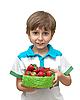 ID 3013835 | Chłopiec z miską truskawek | Foto stockowe wysokiej rozdzielczości | KLIPARTO