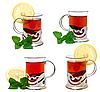 ID 3013975 | Чай в стеклянном стакане с подстаканником-держателем и веточкой мелиссы | Фото большого размера | CLIPARTO