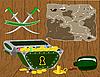 Truhe von Gold und Piraten-Karte.