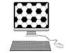 Monitor mit Fußball-Muster, Tastatur und Maus.