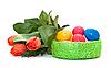 ID 3014580 | Пасхальные яйца с букетом тюльпанов | Фото большого размера | CLIPARTO