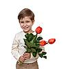 Junge mit einem Tulpenstrauß | Stock Foto
