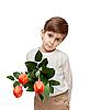 ID 3014600 | Мальчик с букетом тюльпанов | Фото большого размера | CLIPARTO