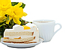 ID 3014608 | Tasse mit Tee, Kuchen und gelbe Blume | Foto mit hoher Auflösung | CLIPARTO