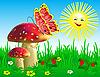 Sommerlandschaft mit Champignons und Schmetterling. | Stock Vektrografik