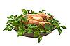 ID 3019021 | Gegrilltes Huhn auf einer Platte mit Petersilie. | Foto mit hoher Auflösung | CLIPARTO