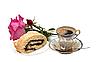 Filiżanka kawy z rolki.   Stock Foto