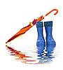 ID 3019279 | Buty gumowe i kolorowe parasol | Foto stockowe wysokiej rozdzielczości | KLIPARTO