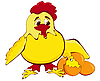 Huhn mit Küken und Eiern