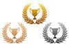 Золотые, серебряные и бронзовые лавровые венки с трофеем