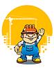 Векторный клипарт: Смешно улыбается строитель