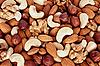 Verschiedene Nüsse (Mandeln, Haselnüsse, Walnüsse, Cashewkerne) | Stock Foto