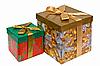 ID 3016950 | Dwa dekoracyjne pudełka ze złotą wstążką łuk na białym | Foto stockowe wysokiej rozdzielczości | KLIPARTO