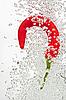 ID 3017015 | Chili-Pfeffer fällt in Wasser auf Weiß | Foto mit hoher Auflösung | CLIPARTO