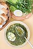 ID 3017207 | Zielona zupa z kurczaka z jajkiem | Foto stockowe wysokiej rozdzielczości | KLIPARTO