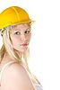 ID 3030877 | Frau im gelben Aufbau-Helm | Foto mit hoher Auflösung | CLIPARTO