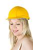 ID 3030882 | Frau im gelben Aufbau-Helm | Foto mit hoher Auflösung | CLIPARTO