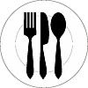Teller mit Gabel, Messer und Löffel