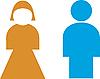 Restroomzeichen, männlich, weiblich