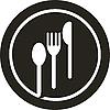 Teller mit Gabel, Messer und Löffel oben drauf