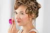 Schöne Frau mit Blume | Stock Photo