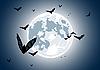 Realistischer Mond mit Fledermäusen | Stock Vektrografik