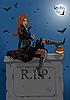 Schöne Hexe sitzt auf dem Grabstein