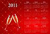 roter Kalender 2011 mit Champagner