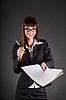ID 3022379 | Wesoła businesswoman z dokumentami i pióro | Foto stockowe wysokiej rozdzielczości | KLIPARTO