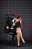 Photo 300 DPI: Depressed businesswoman sitting in office armchair